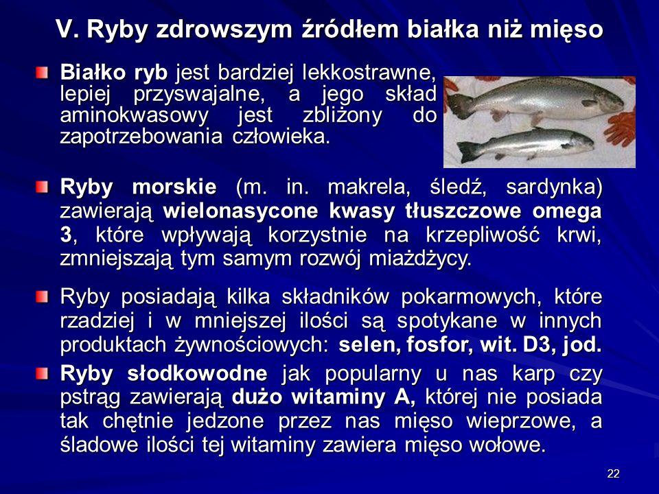 22 V. Ryby zdrowszym źródłem białka niż mięso Białko ryb jest bardziej lekkostrawne, lepiej przyswajalne, a jego skład aminokwasowy jest zbliżony do z