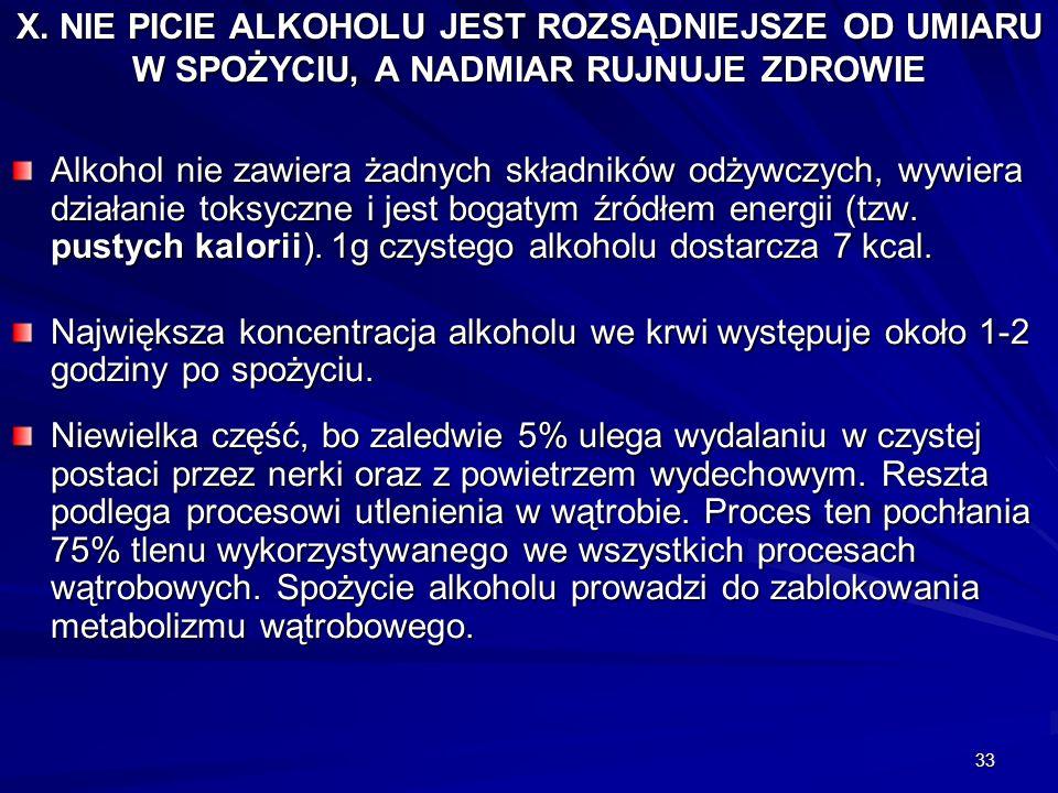33 X. NIE PICIE ALKOHOLU JEST ROZSĄDNIEJSZE OD UMIARU W SPOŻYCIU, A NADMIAR RUJNUJE ZDROWIE Alkohol nie zawiera żadnych składników odżywczych, wywiera