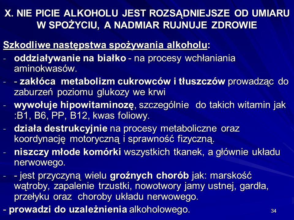 34 X. NIE PICIE ALKOHOLU JEST ROZSĄDNIEJSZE OD UMIARU W SPOŻYCIU, A NADMIAR RUJNUJE ZDROWIE Szkodliwe następstwa spożywania alkoholu: - oddziaływanie