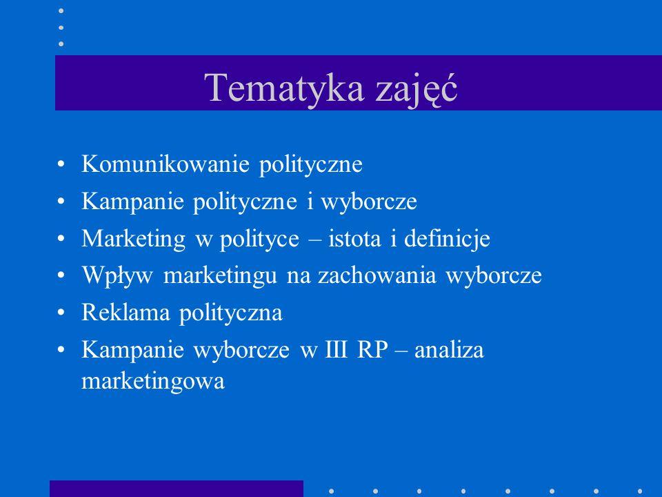 Tematyka zajęć Komunikowanie polityczne Kampanie polityczne i wyborcze Marketing w polityce – istota i definicje Wpływ marketingu na zachowania wyborcze Reklama polityczna Kampanie wyborcze w III RP – analiza marketingowa
