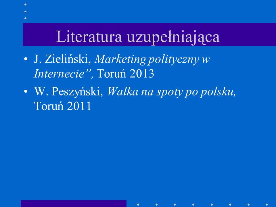"""Literatura uzupełniająca J. Zieliński, Marketing polityczny w Internecie"""", Toruń 2013 W. Peszyński, Walka na spoty po polsku, Toruń 2011"""