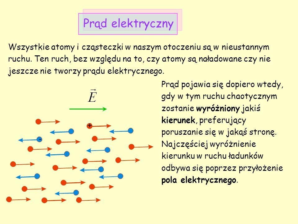Umownym kierunkiem prądu jest kierunek wyznaczony przez ruch ładunków dodatnich (czyli kierunek zgodny z kierunkiem pola elektrycznego).