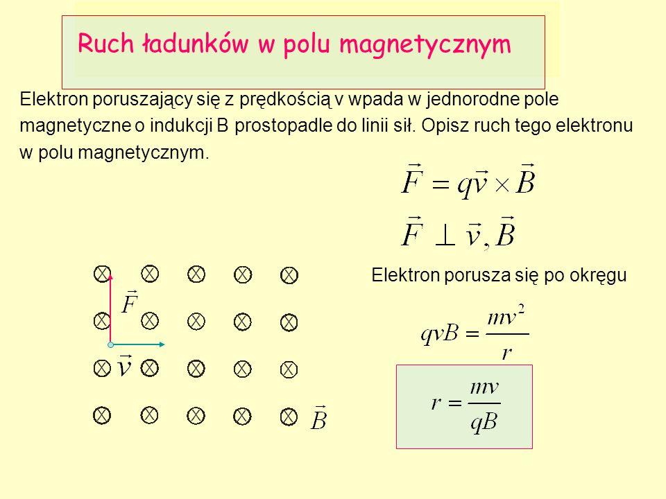 Elektron poruszający się z prędkością v wpada w jednorodne pole magnetyczne o indukcji B prostopadle do linii sił.