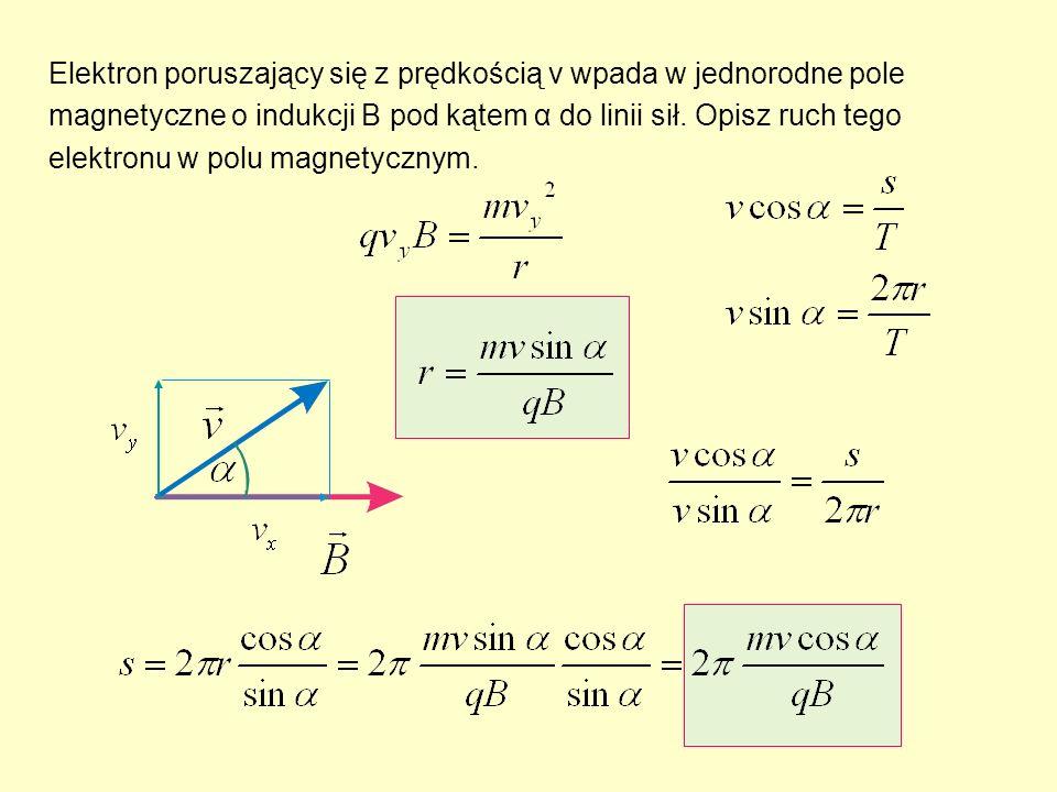 Elektron poruszający się z prędkością v wpada w jednorodne pole magnetyczne o indukcji B pod kątem α do linii sił.