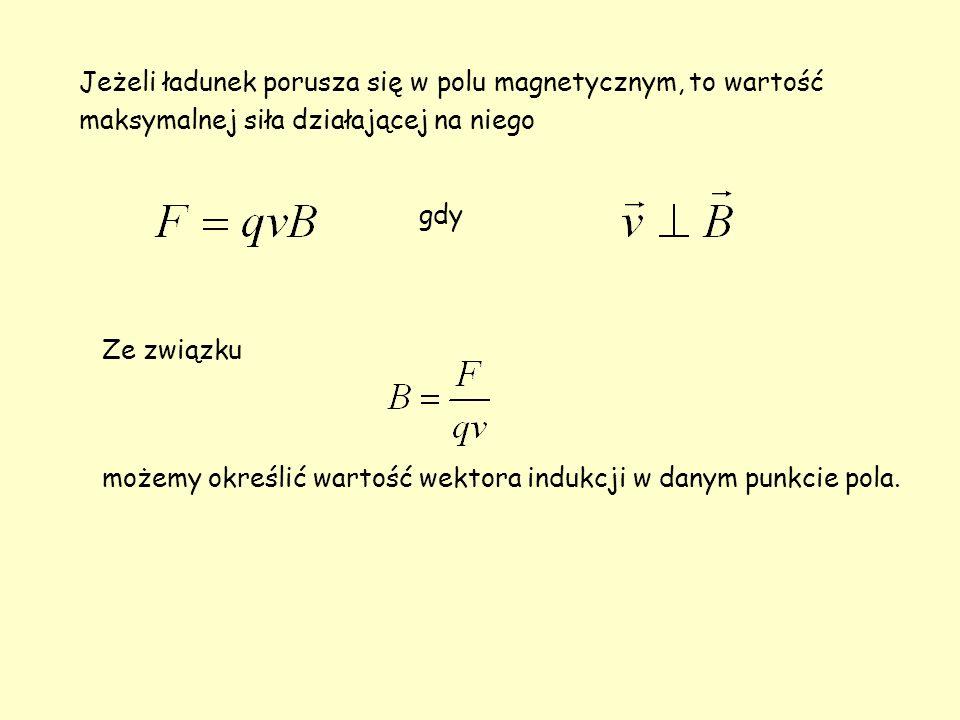 Jeżeli ładunek porusza się w polu magnetycznym, to wartość maksymalnej siła działającej na niego gdy Ze związku możemy określić wartość wektora indukcji w danym punkcie pola.