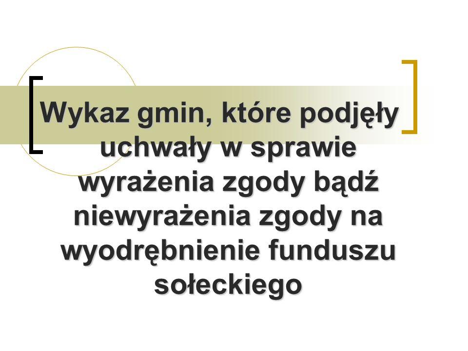 o Wykaz gmin, które podjęły uchwały w sprawie wyrażenia zgody bądź niewyrażenia zgody na wyodrębnienie funduszu sołeckiego