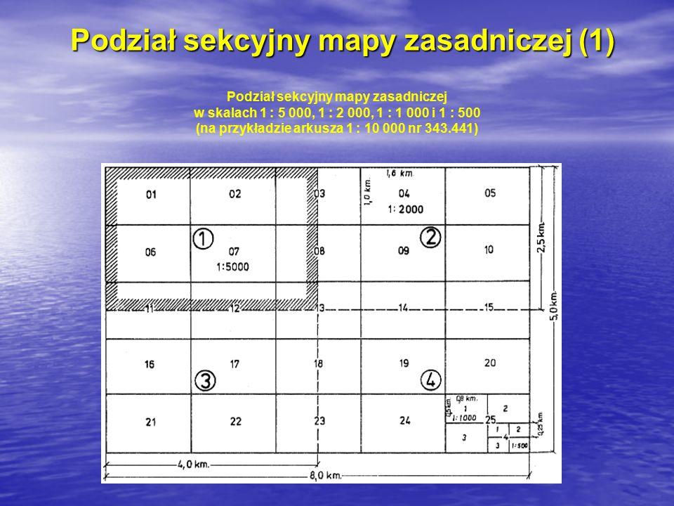 Podział sekcyjny mapy zasadniczej (2) Godłem arkusza mapy zasadniczej w skali 1 : 5 000, 1 : 2 000, 1 : 1 000 i 1 : 500 jest godło danego arkusza wielkoskalowej mapy topograficznej w skali 1 : 10 000 uzupełnione cechą wynikającą z podziału: 1.arkusza mapy w skali 1 : 10 000 na 4 arkusze mapy w skali 1 : 5 000 oznaczone liczbami 1, 2, 3, 4.