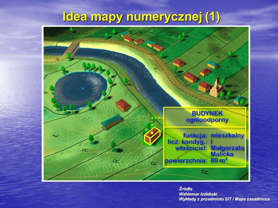 Idea mapy numerycznej (1) Źródło Waldemar Izdebski Wykłady z przedmiotu SIT / Mapa zasadnicza