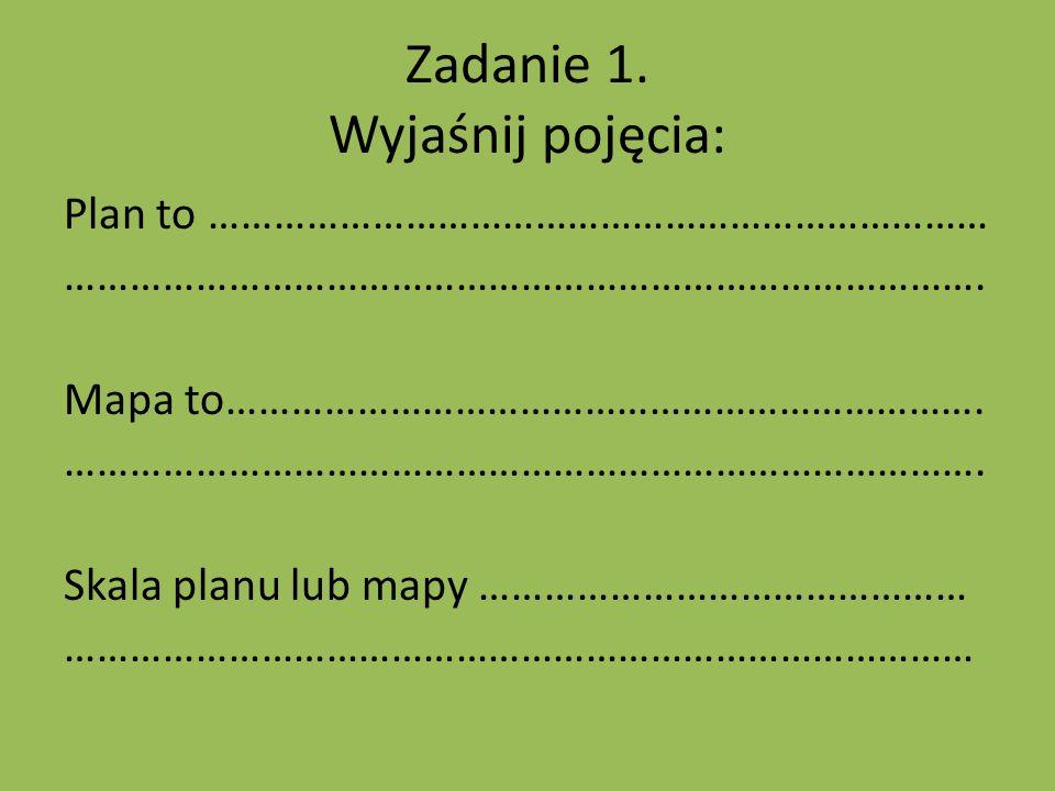 Zadanie 1.Wyjaśnij pojęcia: Plan to ……………………………………………………………… ………………………………………………………………………….