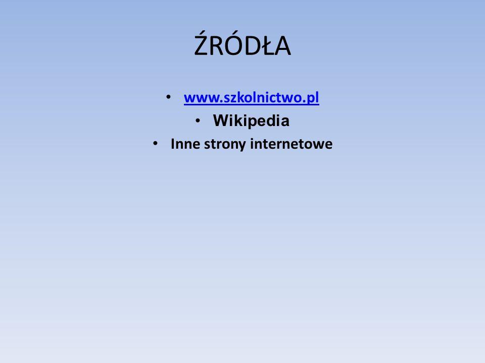 ŹRÓDŁA www.szkolnictwo.pl Wikipedia Inne strony internetowe