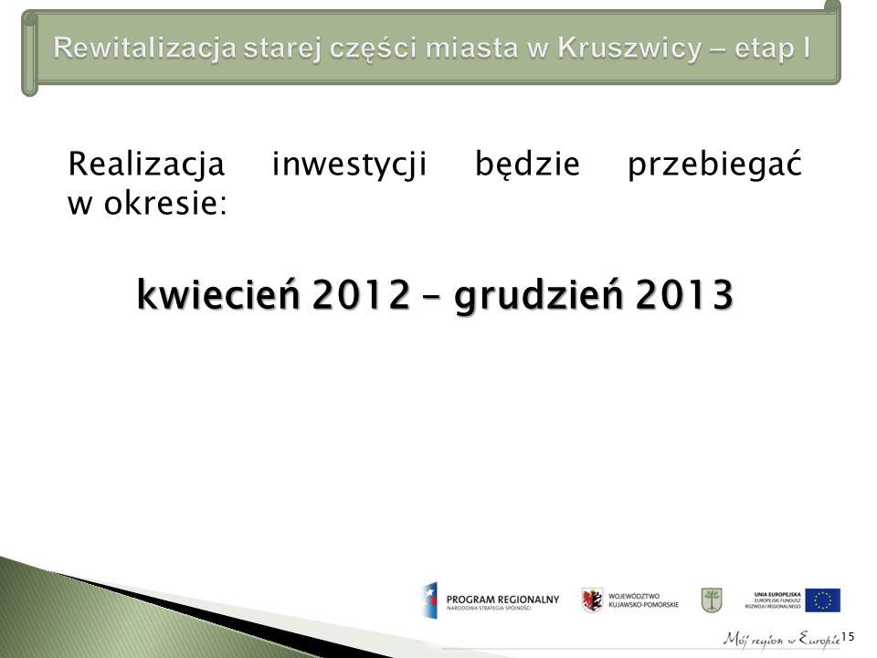 Realizacja inwestycji będzie przebiegać w okresie: kwiecień 2012 – grudzień 2013 15