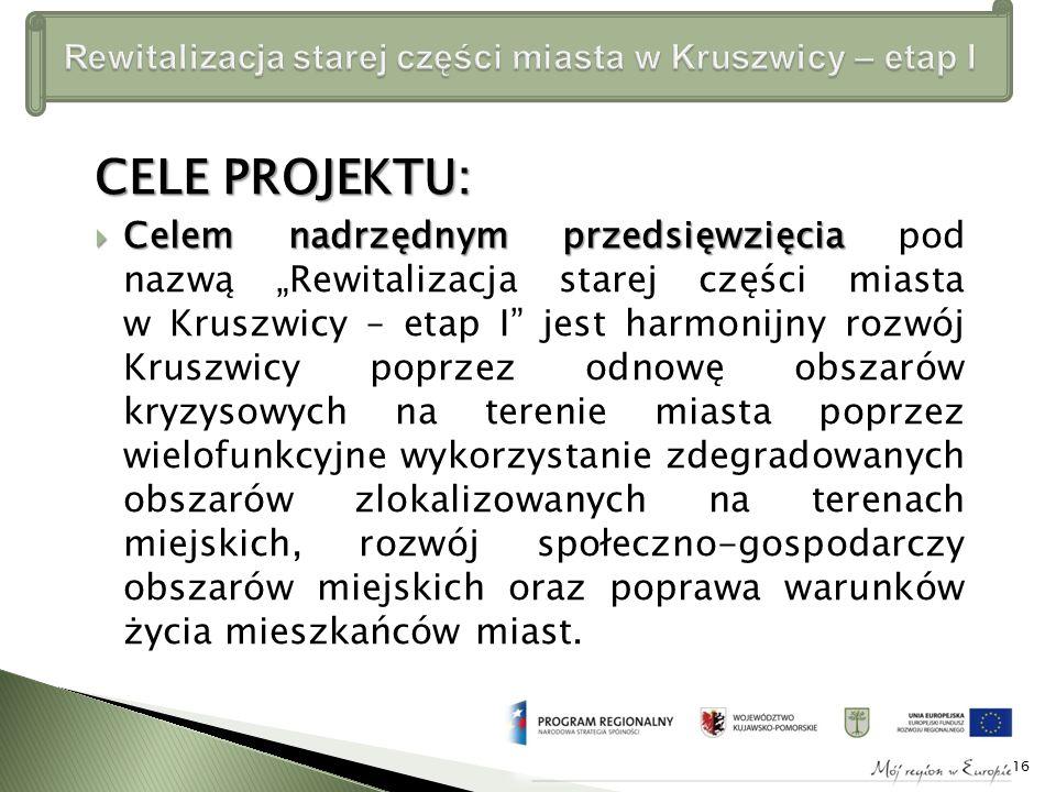 """CELE PROJEKTU: CCCCelem nadrzędnym przedsięwzięcia pod nazwą """"Rewitalizacja starej części miasta w Kruszwicy – etap I jest harmonijny rozwój Kruszwicy poprzez odnowę obszarów kryzysowych na terenie miasta poprzez wielofunkcyjne wykorzystanie zdegradowanych obszarów zlokalizowanych na terenach miejskich, rozwój społeczno-gospodarczy obszarów miejskich oraz poprawa warunków życia mieszkańców miast."""