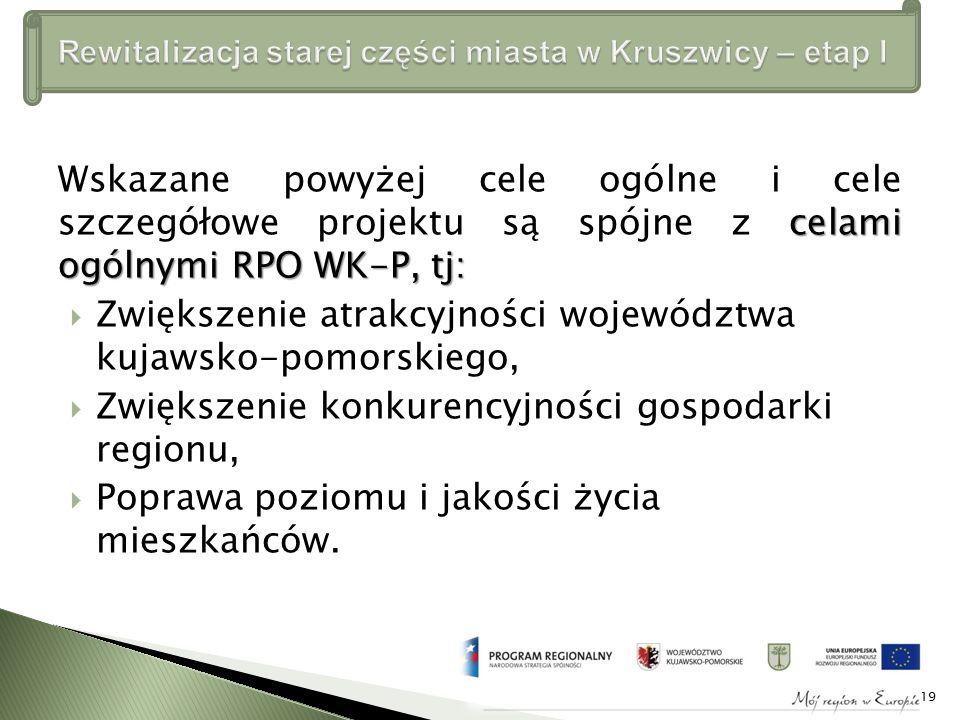 celami ogólnymi RPO WK-P, tj: Wskazane powyżej cele ogólne i cele szczegółowe projektu są spójne z celami ogólnymi RPO WK-P, tj:  Zwiększenie atrakcyjności województwa kujawsko-pomorskiego,  Zwiększenie konkurencyjności gospodarki regionu,  Poprawa poziomu i jakości życia mieszkańców.