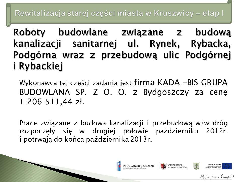Wykonawcą tej części zadania jest firma KADA –BIS GRUPA BUDOWLANA SP.