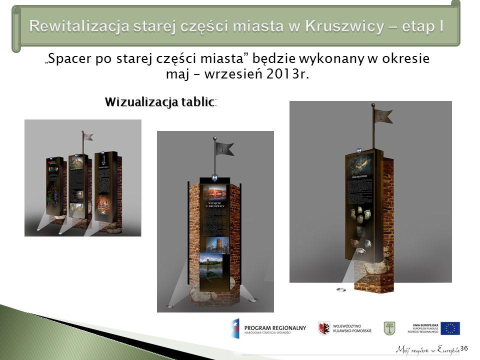 """"""" Spacer po starej części miasta będzie wykonany w okresie maj – wrzesień 2013r."""