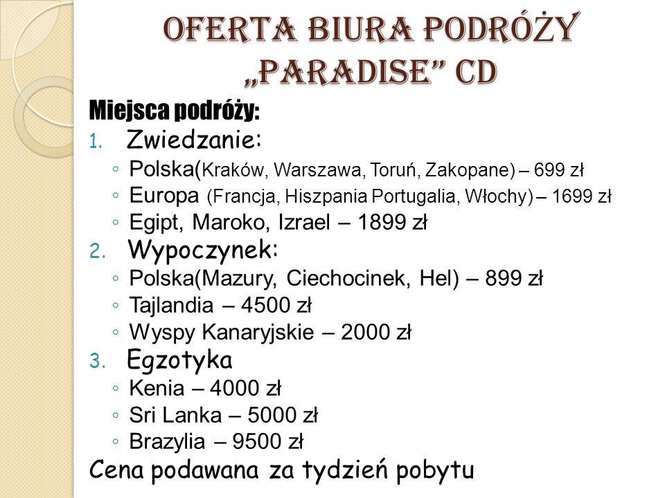"""OFERTA BIURA PODRÓ Ż Y """"PARADISE"""" CD Miejsca podróży: 1. Zwiedzanie: ◦ Polska( Kraków, Warszawa, Toruń, Zakopane) – 699 zł ◦ Europa (Francja, Hiszpani"""