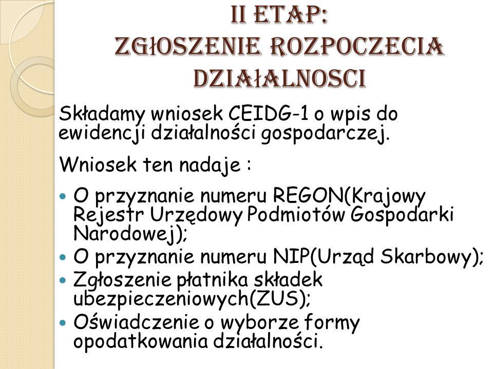 II ETAP: Zg ł oszenie Rozpoczecia Dzia ł alnosci Składamy wniosek CEIDG-1 o wpis do ewidencji działalności gospodarczej. Wniosek ten nadaje : O przyzn