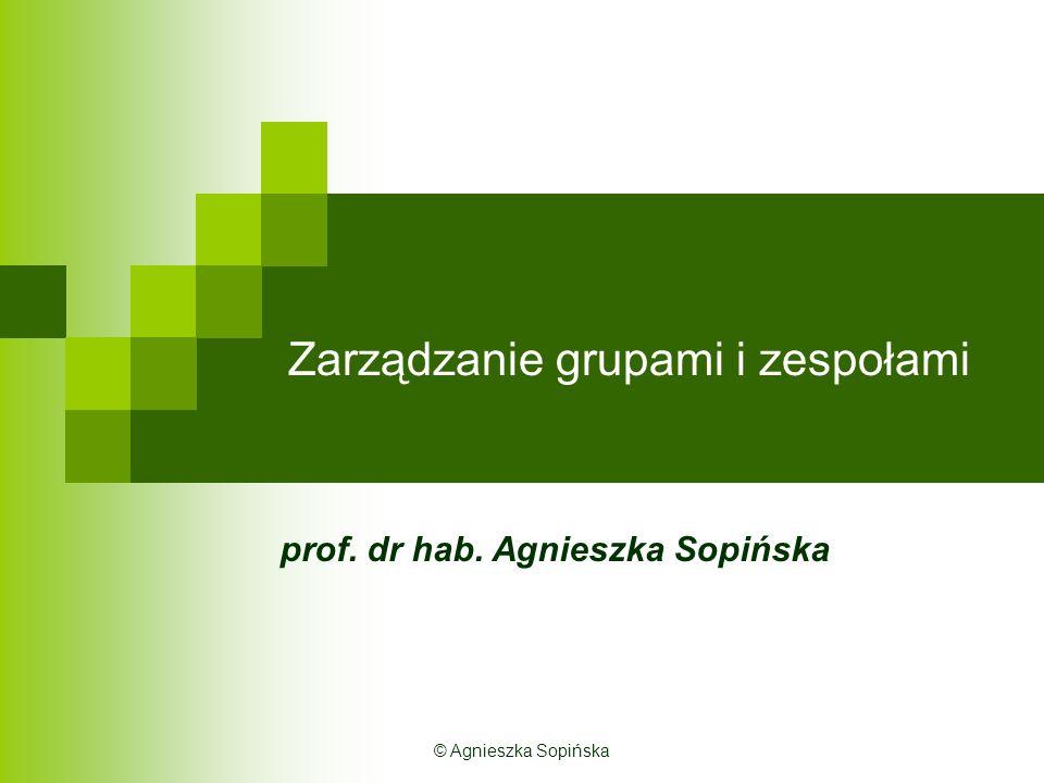 Zarządzanie grupami i zespołami prof. dr hab. Agnieszka Sopińska © Agnieszka Sopińska