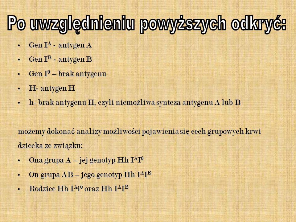 Gen I A - antygen AGen I A - antygen A Gen I B - antygen BGen I B - antygen B Gen I 0 – brak antygenuGen I 0 – brak antygenu H- antygen HH- antygen H h- brak antygenu H, czyli niemo ż liwa synteza antygenu A lub Bh- brak antygenu H, czyli niemo ż liwa synteza antygenu A lub B mo ż emy dokona ć analizy mo ż liwo ś ci pojawienia si ę cech grupowych krwi dziecka ze zwi ą zku: Ona grupa A – jej genotyp Hh I A I 0Ona grupa A – jej genotyp Hh I A I 0 On grupa AB – jego genotyp Hh I A I BOn grupa AB – jego genotyp Hh I A I B Rodzice Hh I A i 0 oraz Hh I A I BRodzice Hh I A i 0 oraz Hh I A I B