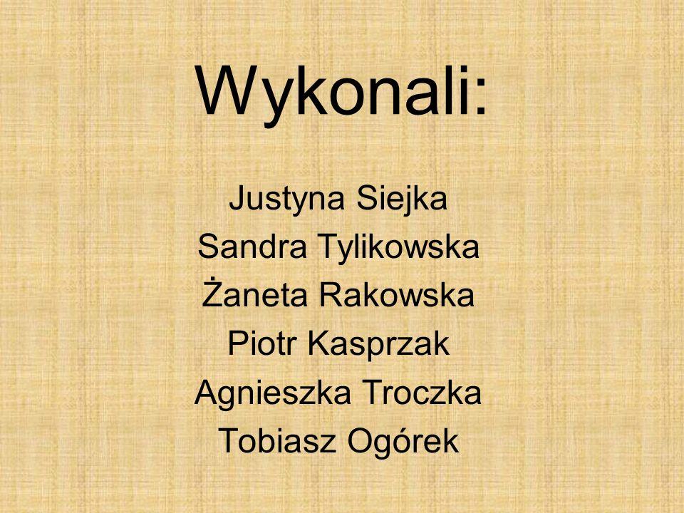Wykonali: Justyna Siejka Sandra Tylikowska Żaneta Rakowska Piotr Kasprzak Agnieszka Troczka Tobiasz Ogórek