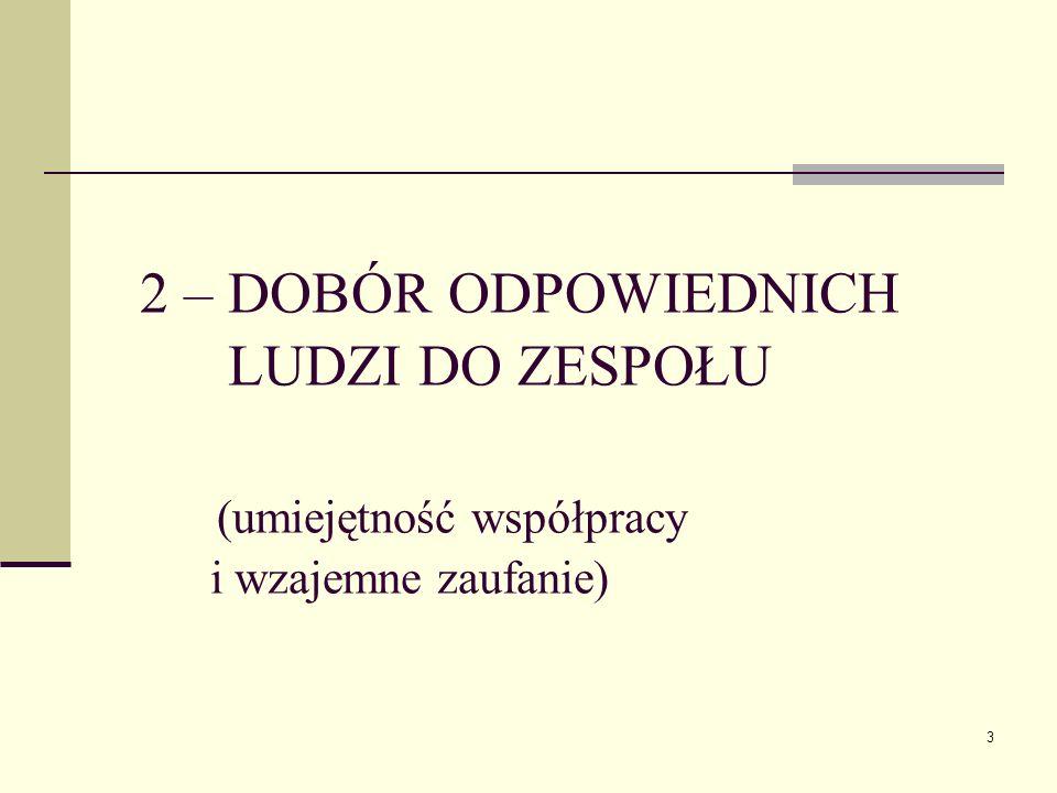 3 2 – DOBÓR ODPOWIEDNICH LUDZI DO ZESPOŁU (umiejętność współpracy i wzajemne zaufanie)
