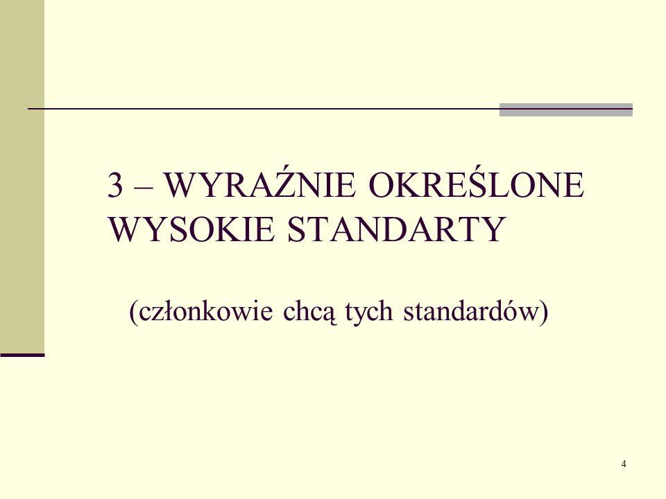 4 3 – WYRAŹNIE OKREŚLONE WYSOKIE STANDARTY (członkowie chcą tych standardów)