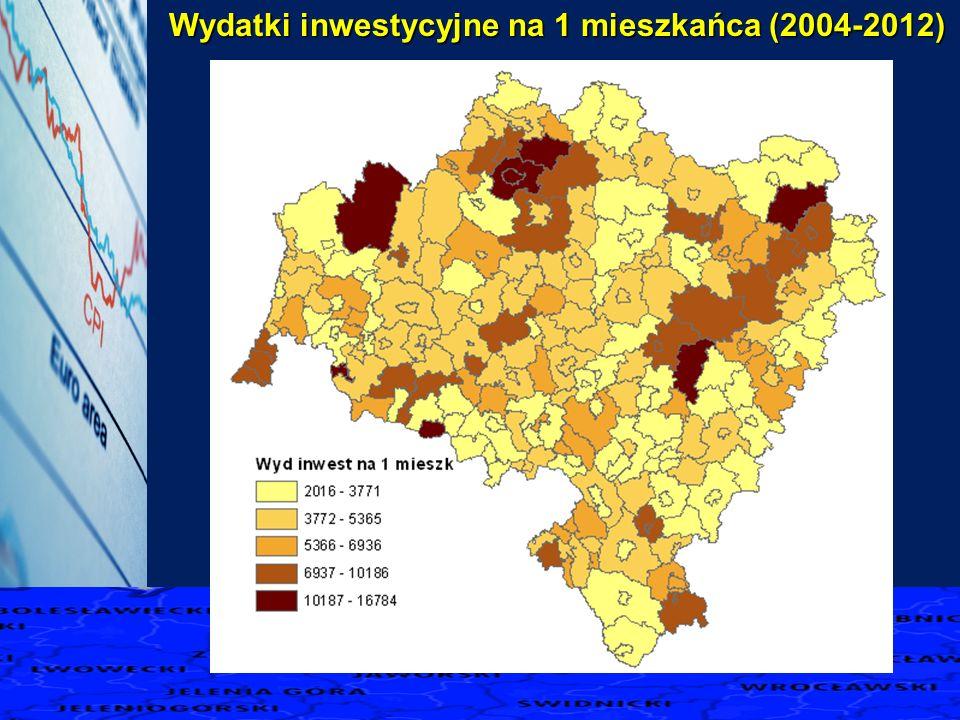 Wydatki inwestycyjne na 1 mieszkańca (2004-2012)