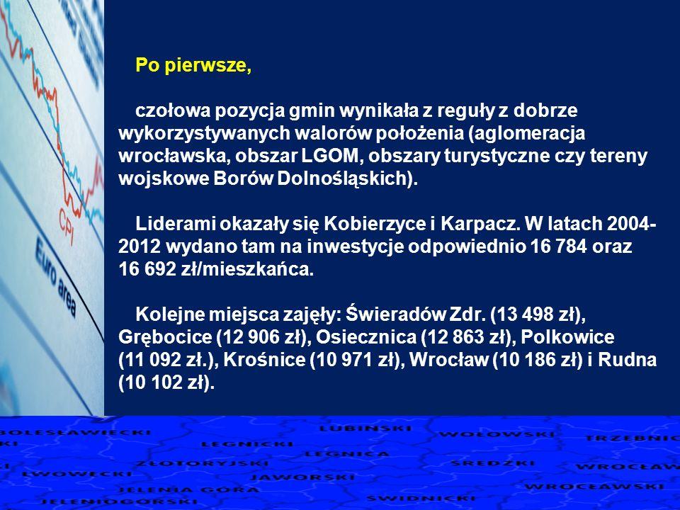 Po pierwsze, czołowa pozycja gmin wynikała z reguły z dobrze wykorzystywanych walorów położenia (aglomeracja wrocławska, obszar LGOM, obszary turystyczne czy tereny wojskowe Borów Dolnośląskich).