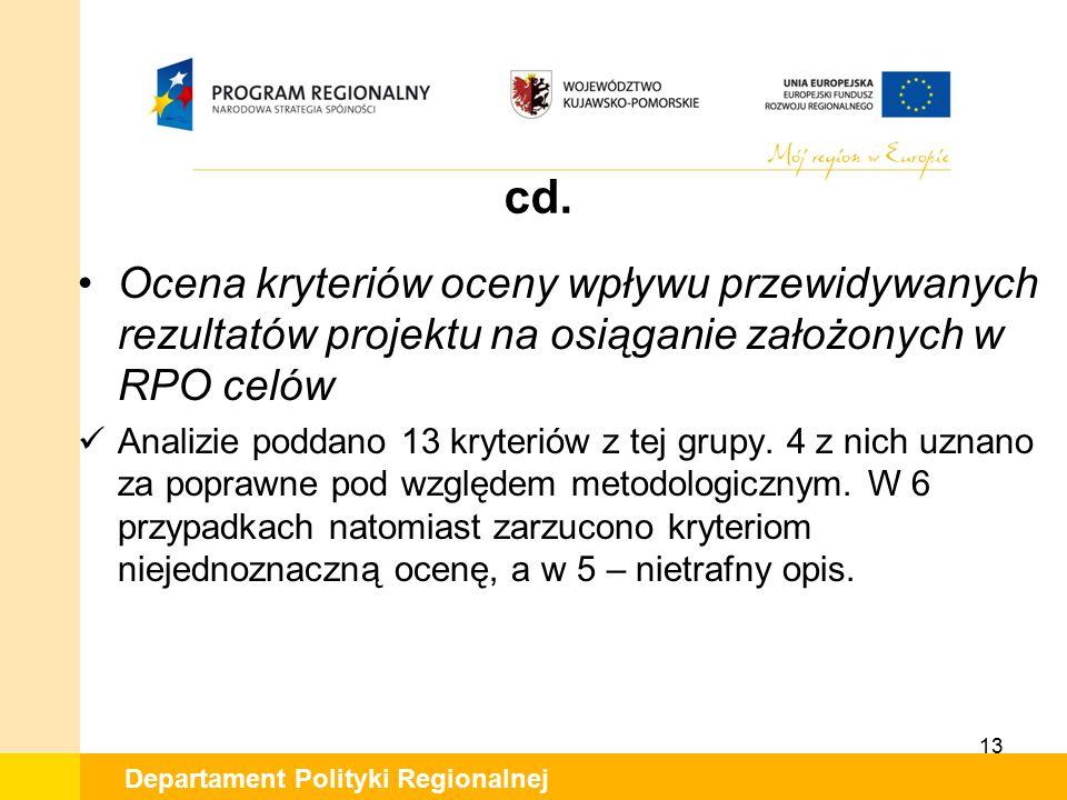 Departament Polityki Regionalnej cd. Ocena kryteriów oceny wpływu przewidywanych rezultatów projektu na osiąganie założonych w RPO celów Analizie podd