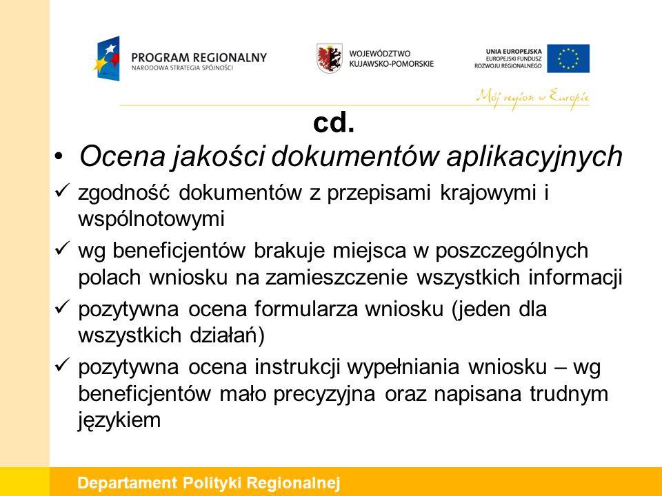 Departament Polityki Regionalnej cd. Ocena jakości dokumentów aplikacyjnych zgodność dokumentów z przepisami krajowymi i wspólnotowymi wg beneficjentó