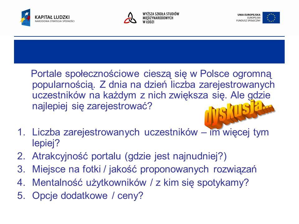 Portale społecznościowe cieszą się w Polsce ogromną popularnością. Z dnia na dzień liczba zarejestrowanych uczestników na każdym z nich zwiększa się.