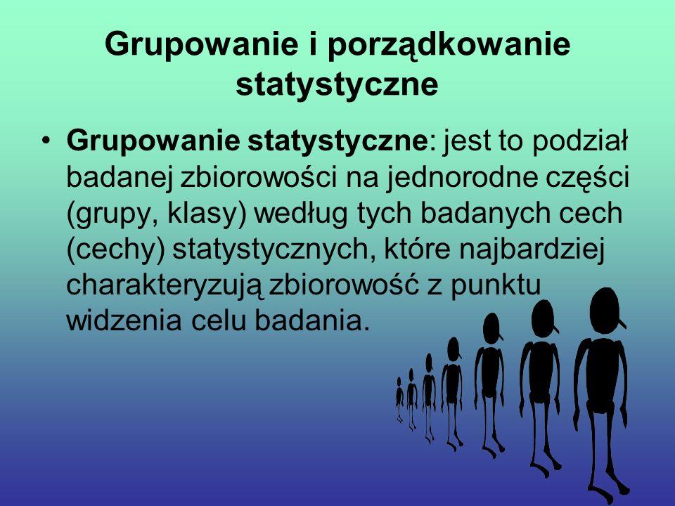 Grupowanie i porządkowanie statystyczne Grupowanie statystyczne: jest to podział badanej zbiorowości na jednorodne części (grupy, klasy) według tych badanych cech (cechy) statystycznych, które najbardziej charakteryzują zbiorowość z punktu widzenia celu badania.