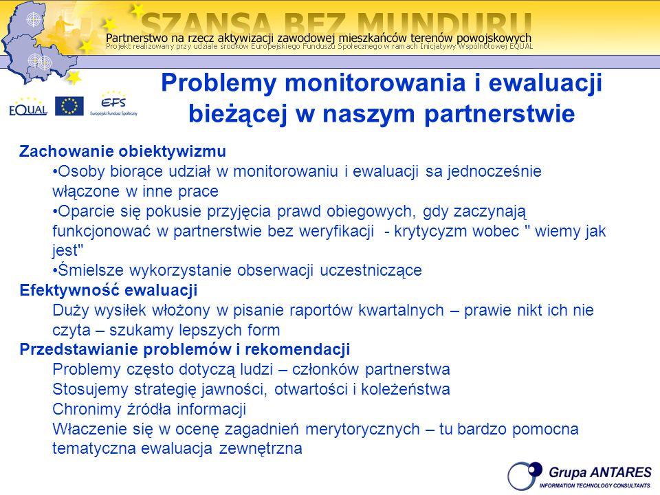 Problemy monitorowania i ewaluacji bieżącej w naszym partnerstwie Zachowanie obiektywizmu Osoby biorące udział w monitorowaniu i ewaluacji sa jednocze
