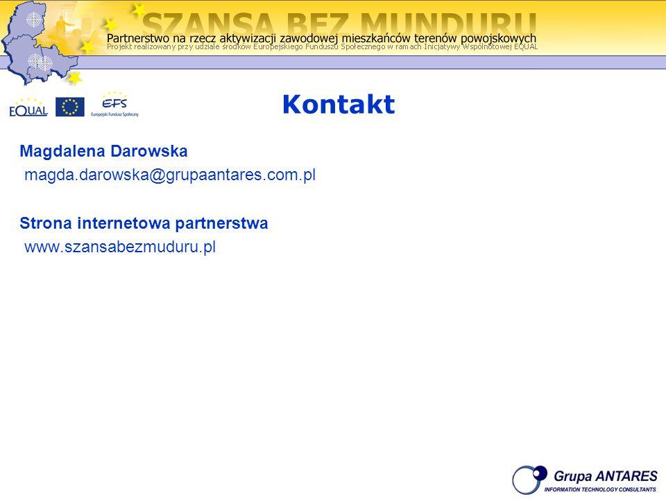 Kontakt Magdalena Darowska magda.darowska@grupaantares.com.pl Strona internetowa partnerstwa www.szansabezmuduru.pl
