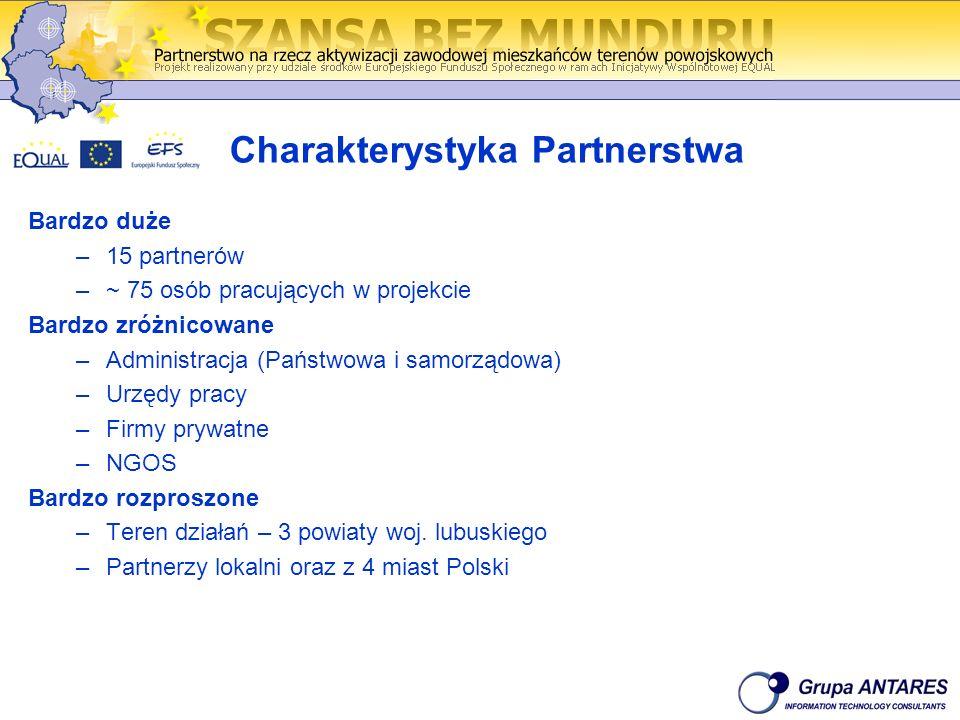 Charakterystyka Partnerstwa Bardzo duże –15 partnerów –~ 75 osób pracujących w projekcie Bardzo zróżnicowane –Administracja (Państwowa i samorządowa)