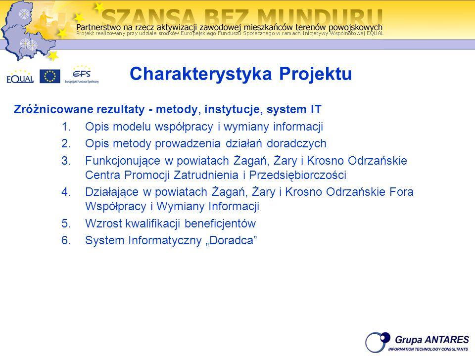 Charakterystyka Projektu Zróżnicowane rezultaty - metody, instytucje, system IT 1.Opis modelu współpracy i wymiany informacji 2.Opis metody prowadzeni