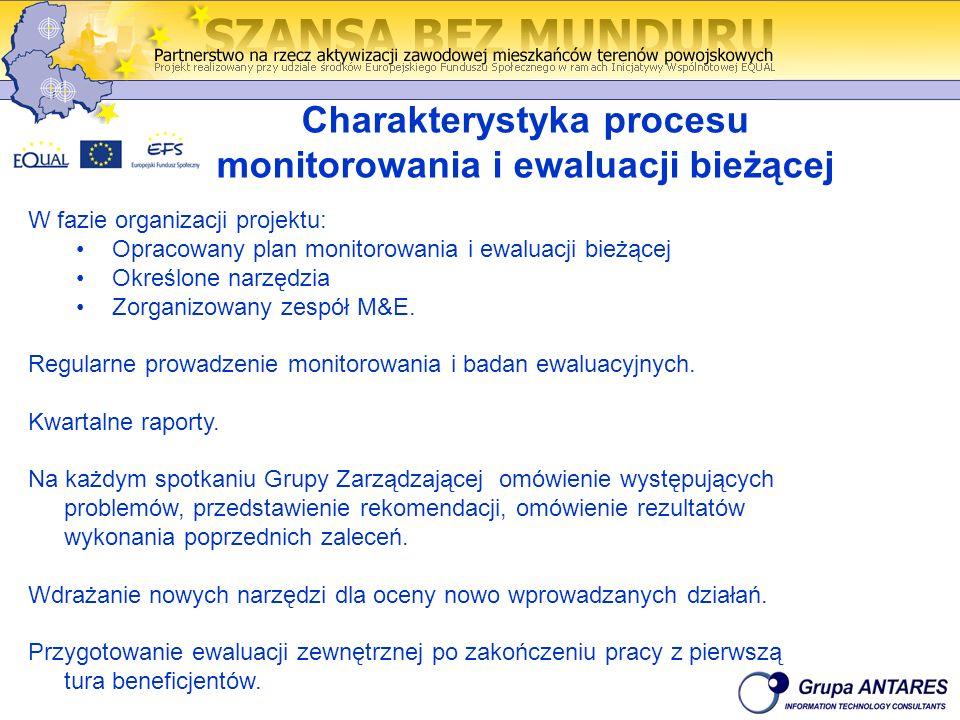 Charakterystyka procesu monitorowania i ewaluacji bieżącej W fazie organizacji projektu: Opracowany plan monitorowania i ewaluacji bieżącej Określone