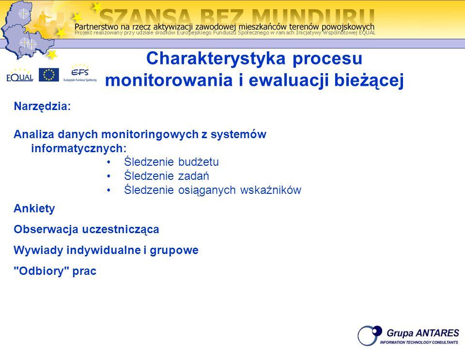 Charakterystyka procesu monitorowania i ewaluacji bieżącej Narzędzia: Analiza danych monitoringowych z systemów informatycznych: Śledzenie budżetu Śle