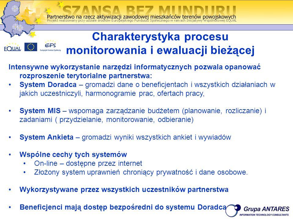 Charakterystyka procesu monitorowania i ewaluacji bieżącej Intensywne wykorzystanie narzędzi informatycznych pozwala opanować rozproszenie terytorialne partnerstwa: System Doradca – gromadzi dane o beneficjentach i wszystkich działaniach w jakich uczestniczyli, harmonogramie prac, ofertach pracy, System MIS – wspomaga zarządzanie budżetem (planowanie, rozliczanie) i zadaniami ( przydzielanie, monitorowanie, odbieranie) System Ankieta – gromadzi wyniki wszystkich ankiet i wywiadów Wspólne cechy tych systemów On-line – dostępne przez internet Złożony system uprawnień chroniący prywatność i dane osobowe.