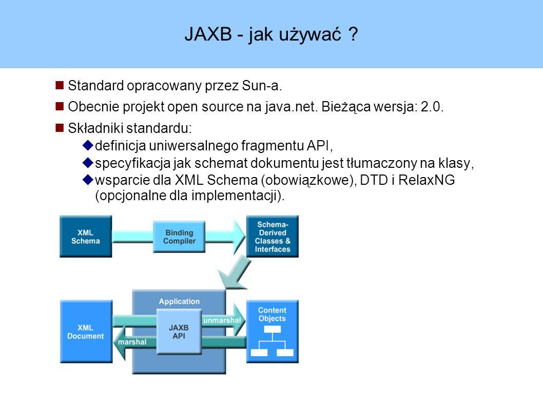 JAXB - jak używać . Standard opracowany przez Sun-a.