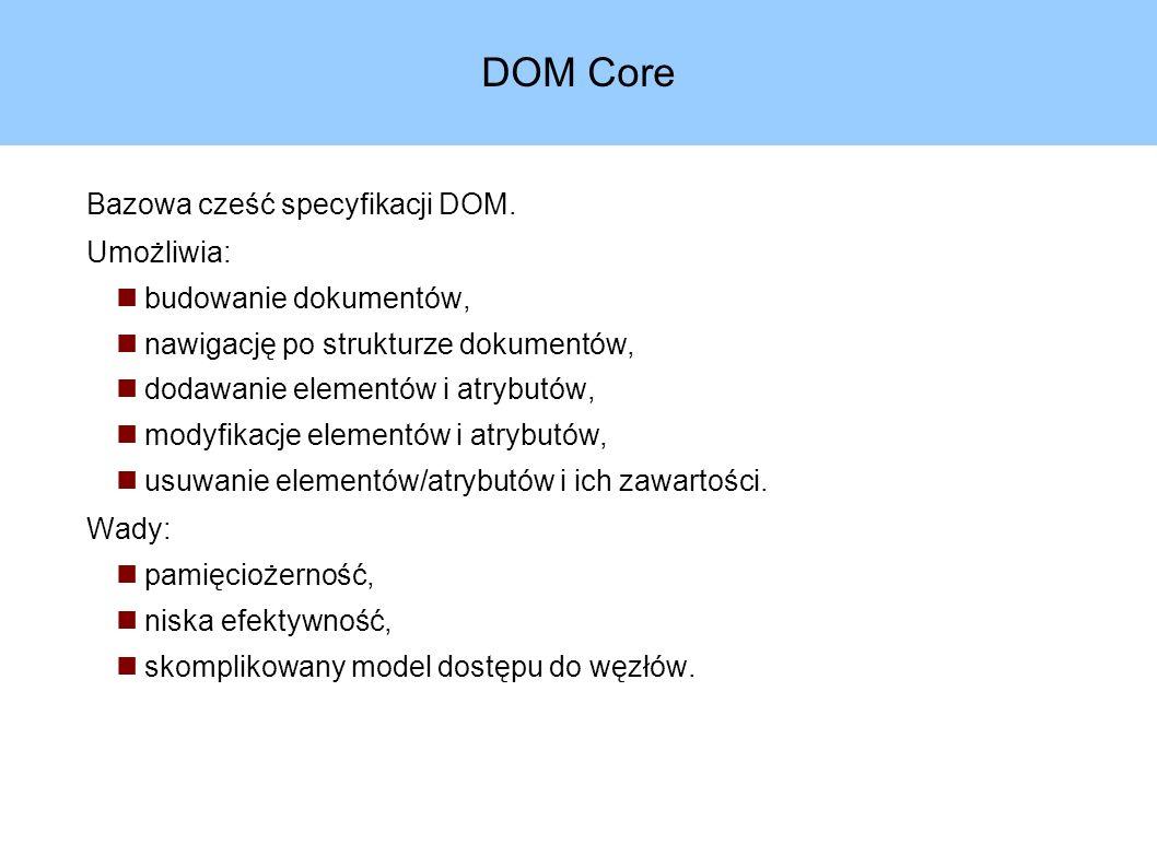 Drzewo DOM Teoretyczny model dokumentu.