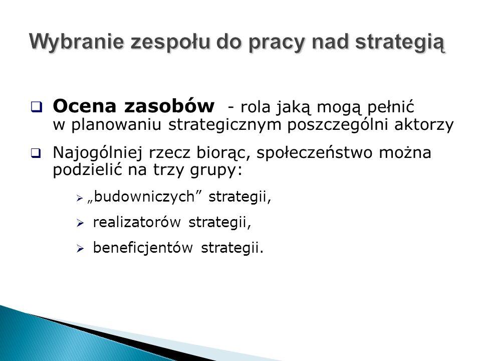 """ Ocena zasobów - rola jaką mogą pełnić w planowaniu strategicznym poszczególni aktorzy  Najogólniej rzecz biorąc, społeczeństwo można podzielić na trzy grupy:  """" budowniczych strategii,  realizatorów strategii,  beneficjentów strategii."""