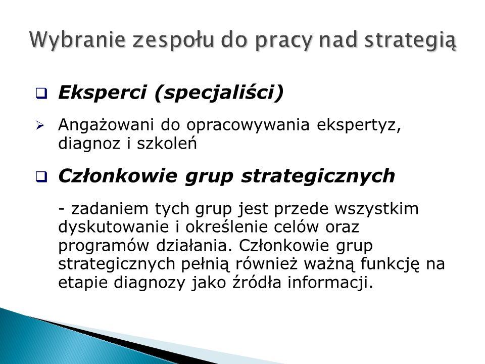  Eksperci (specjaliści)  Angażowani do opracowywania ekspertyz, diagnoz i szkoleń  Członkowie grup strategicznych - zadaniem tych grup jest przede wszystkim dyskutowanie i określenie celów oraz programów działania.
