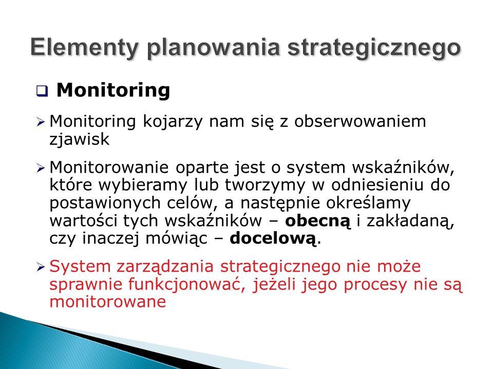  Monitoring  Monitoring kojarzy nam się z obserwowaniem zjawisk  Monitorowanie oparte jest o system wskaźników, które wybieramy lub tworzymy w odniesieniu do postawionych celów, a następnie określamy wartości tych wskaźników – obecną i zakładaną, czy inaczej mówiąc – docelową.