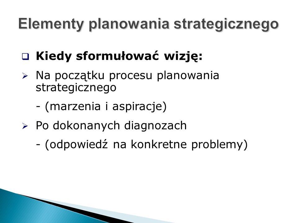  Kiedy sformułować wizję:  Na początku procesu planowania strategicznego - (marzenia i aspiracje)  Po dokonanych diagnozach - (odpowiedź na konkretne problemy)