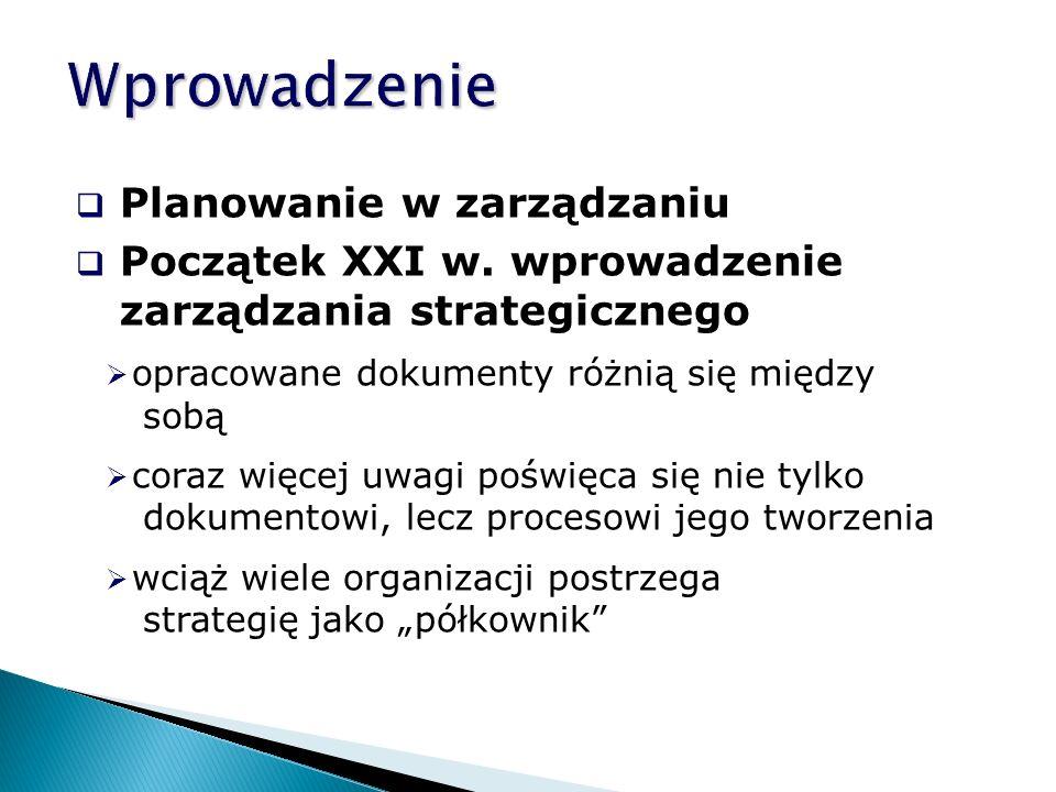  Planowanie w zarządzaniu  Początek XXI w.