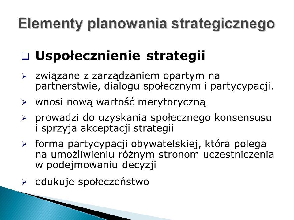  Uspołecznienie strategii  związane z zarządzaniem opartym na partnerstwie, dialogu społecznym i partycypacji.