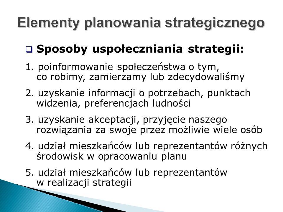  Sposoby uspołeczniania strategii: 1.