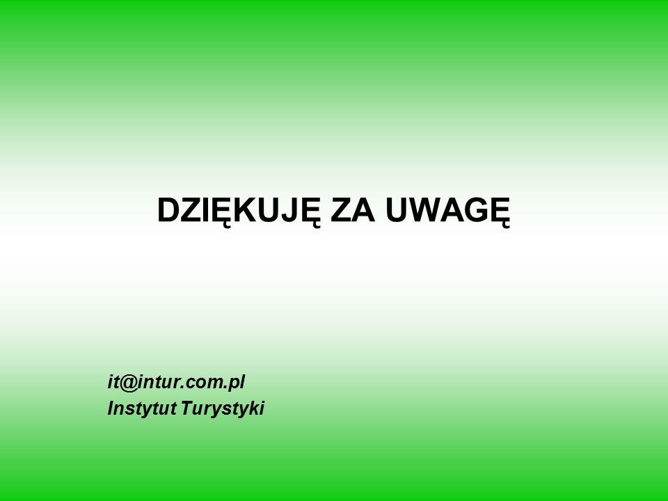 DZIĘKUJĘ ZA UWAGĘ it@intur.com.pl Instytut Turystyki