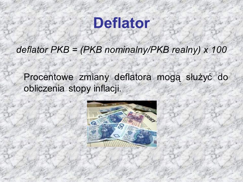 Deflator deflator PKB = (PKB nominalny/PKB realny) x 100 Procentowe zmiany deflatora mogą służyć do obliczenia stopy inflacji.